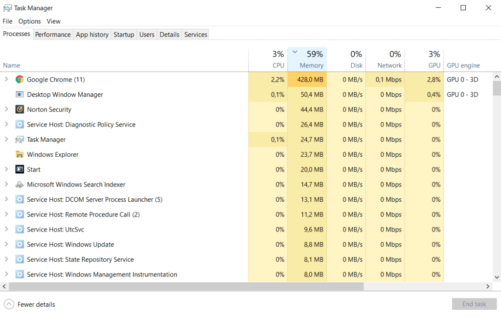 memorie RAM task manager pe windows 10