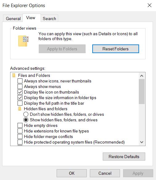 Afisarea fisierelor de sistem ascunse in Windows 10